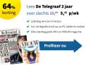 De Telegraaf zaterdag abonnement   -64% korting   Slechts €2,53 per week!