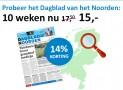 Dagblad van het Noorden zaterdag abonnement met 14% korting