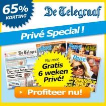 6 weken De Telegraaf met 65% korting + 6 weken de Privé cadeau!