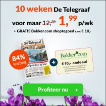 Telegraaf aanbieding! 10 weken voor maar €1,99 per week! 84% korting!