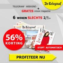 De Telegraaf weekend aanbieding. Vrijdag en zaterdag editie slechts €2,00 per week