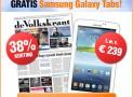 de Volkskrant 2 jaar Zaterdag plus met 38% korting & gratis Samsung Galaxy Tab 4.0